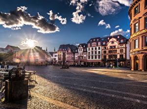 Фотография Германия Здания Рассветы и закаты Небо Майнц Улиц Облако Города