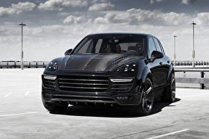 Картинки Порше Черный Спереди 2015 TopCar Cayenne Автомобили