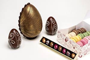 Фотография Сладости Шоколад Пасха Яйца Макарон Еда