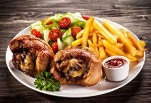 Картинки Курица запеченная Картофель фри Овощи Кетчупа Тарелка Продукты питания