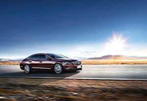 Картинки Buick Дороги Небо Металлик Едущий 2016 LaCrosse Машины