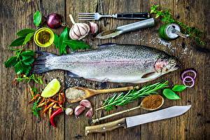 Картинки Морепродукты Рыба Чеснок Лук репчатый Приправы Продукты питания