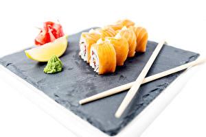 Картинка Морепродукты Суси Лимоны Палочки для еды Еда