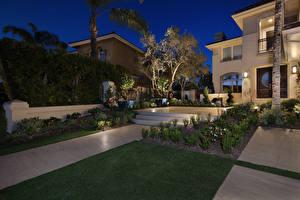 Картинки США Дома Ландшафтный дизайн Ночь Газон Laguna Niguel