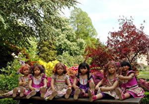 Картинка Кукла Девочки Платья Деревьев Grugapark Essen Природа