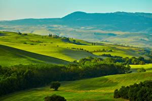 Обои Италия Пейзаж Поля Тоскана Холмы Природа