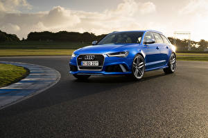 Картинки Audi Синих Универсал 2015 RS 6 Avant AU-spec машины