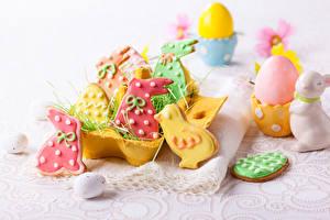 Обои Праздники Пасха Печенье Кролики Цыплята Яйца Пища