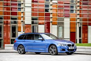 Картинки BMW Голубой Сбоку 2015 M3 Tourng Sport F31 Автомобили