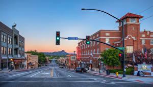 Обои США Дома Дороги Вечер Улице Prescott Arizona Города