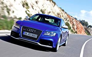 Картинки Audi Синий Спереди RS 5 Автомобили