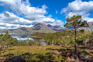 Картинка Шотландия Пейзаж Озеро Горы Облачно Деревьев Upper Loch Torridon Природа