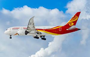 Обои Самолеты Пассажирские Самолеты Облака Полет Boeing 787-8 Dreamliner Авиация фото