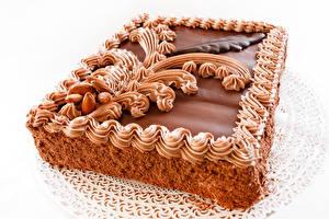Картинки Сладости Торты Шоколад Белый фон Еда