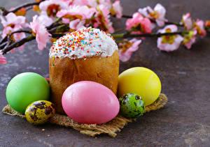 Обои Праздники Пасха Кулич Выпечка Яйца Ветки Еда фото
