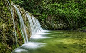 Фото Италия Водопады Речка Мох Mondrago Veneto Природа