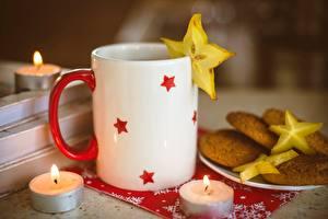 Картинка Печенье Свечи Кружка Еда