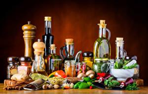 Картинка Специи Овощи Грибы Бутылка Банка