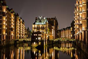 Фото Гамбург Германия Здания Речка Мосты Ночь Уличные фонари