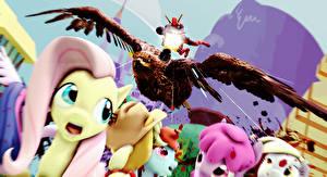 Фотографии My Little Pony Deadpool герой Пулеметы Мультфильмы 3D_Графика