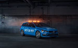 Обои Volvo Голубая Металлик 2016 V60 Polestar WTCC Safety Car машина
