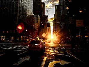 Фотографии Рассвет и закат Такси - Автомобили Дома Дороги Улица город