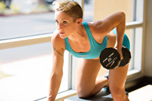 Фотографии Фитнес Гантели Тренируется спортивная Девушки