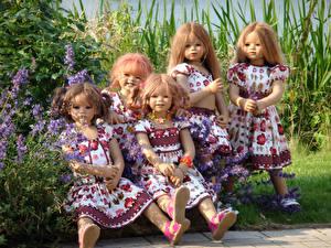 Фото Парки Куклы Девочки Платья Кустов Grugapark Essen Природа