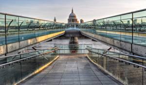 Фотография Мост Англия Собор HDR Лондон Millennium St Paul cathedral