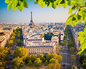 Обои для рабочего стола Франция Здания Дороги Париж Улица Эйфелева башня Города