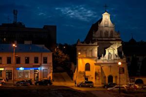 Фотография Польша Дома Храмы Ночь Lublin Города