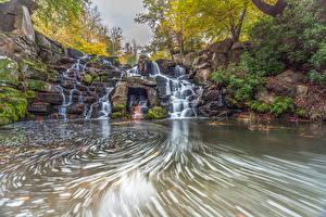Фотография США Водопады Камни Река Virginia Water Природа