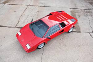 Фотография Ламборгини Винтаж Красный Металлик Сверху 1978-1979 Countach LP400 S дизайн Bertone Автомобили