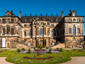 Фото Дрезден Германия Дворец Газон Лестницы Palace  Großen Garten (Great Garden) Города