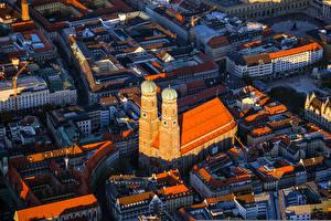 Картинки Дома Германия Мюнхен Сверху Башня