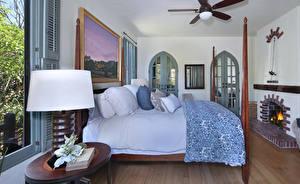 Обои Интерьер Дизайн Спальня Кровати Подушки Лампа
