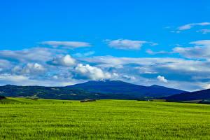 Картинка Италия Поля Небо Тоскана Холмы Природа