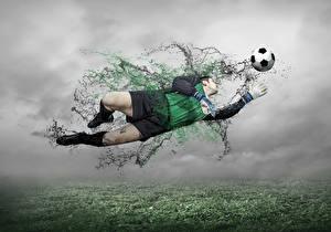 Фотографии Футбол Вратарь в футболе Прыгать Мячик