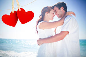 Фотографии Мужчины Любовь Влюбленные пары 2 Сердечко Девушки