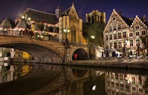 Картинка Бельгия Мосты Брюгге Ночь Города