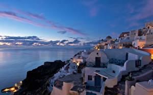 Фотографии Греция Здания Небо Тира Oia Города