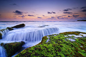 Фотография Индонезия Камни Небо Вечер Море Мох HDRI Lima Beach, Canggu, Bali, IBali Sea Природа