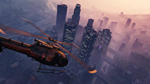 Фотография Вертолеты GTA 5 Небоскребы Игры 3D_Графика