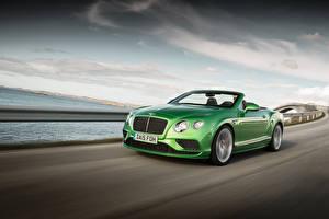 Картинки Bentley Зеленая Кабриолета Движение 2015 Continental GT авто