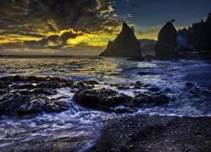 Обои Рассветы и закаты Побережье Океан США Вашингтон HDR Rialto Beach, Olympic National Park Pacific Природа фото