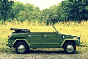 Фото Фольксваген Ретро Зеленый Сбоку 1973-1980 Camat (Type 182) Автомобили