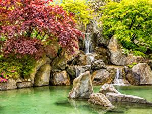 Картинка Парки Водопады Осенние Камень Природа