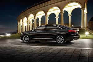 Обои Ford Черный Металлик Сбоку Ночные 2015 Taurus Автомобили