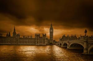 Обои Англия Мост Река Лондоне Биг-Бен
