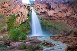 Обои США Водопады Гранд-Каньон парк HDR Havasu Falls, Arizona Природа фото